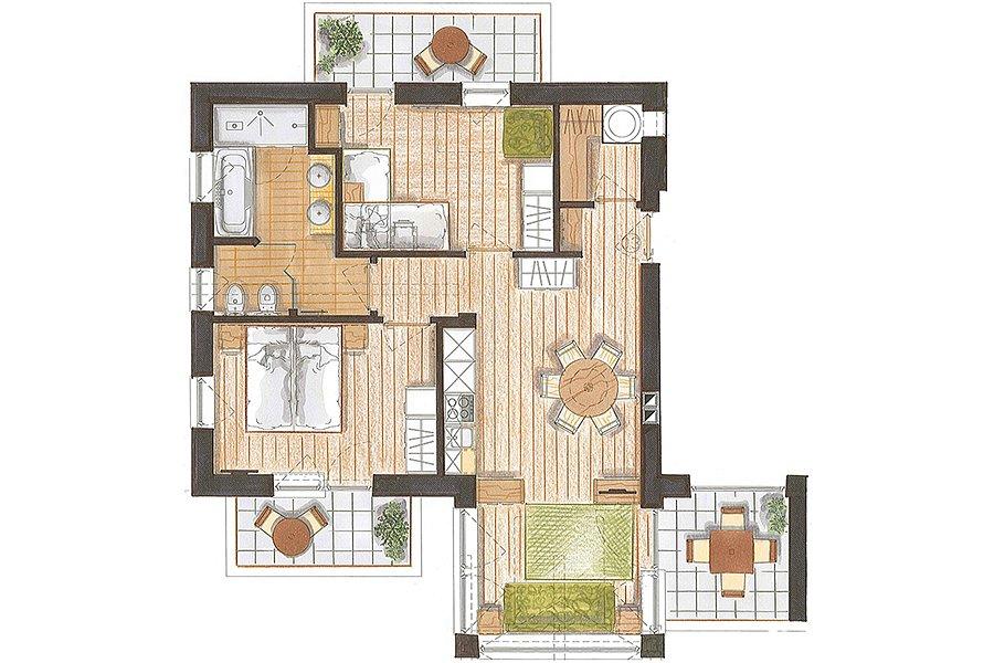 Predazzo appartamento residence color home for Appartamento 60 mq design